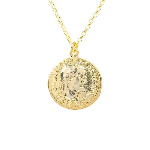 Roman Coin Pendant Necklace Gold