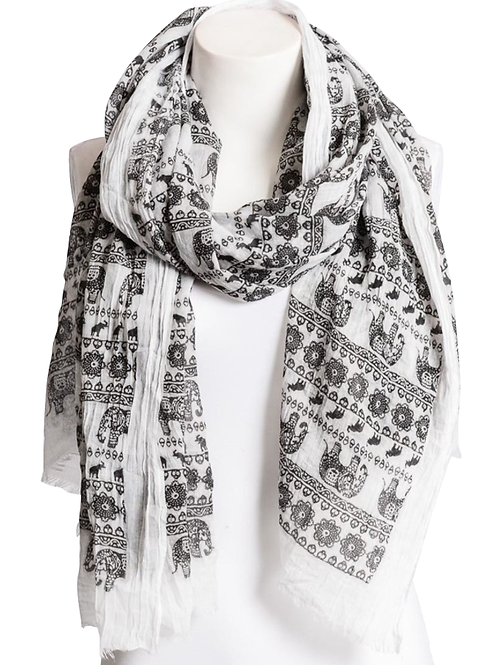 Black & White Lightweight Elephant Boho Scarf
