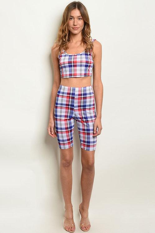 Womens Multi Stripes Top & Shorts Set