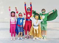 Superheroes Cheerful Kids Expressing Pos