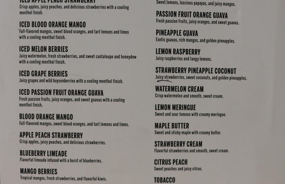 Coastal Cloud flavor menu