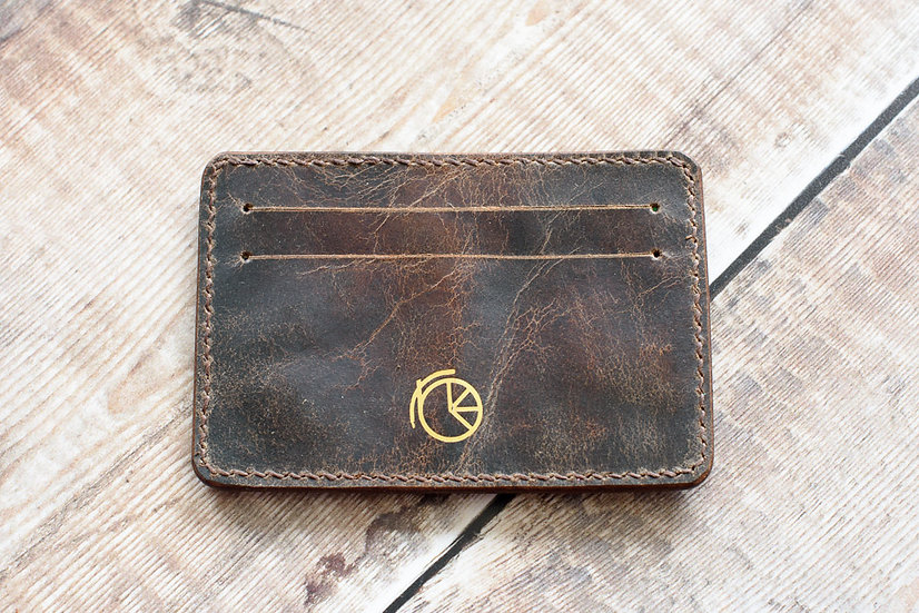 Saddle Cardholder with brown stitching