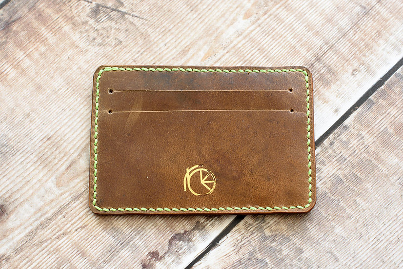 Saddle Cardholder with green stitching