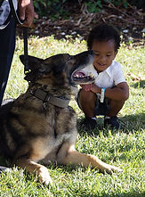 K-9 dog officer with a child