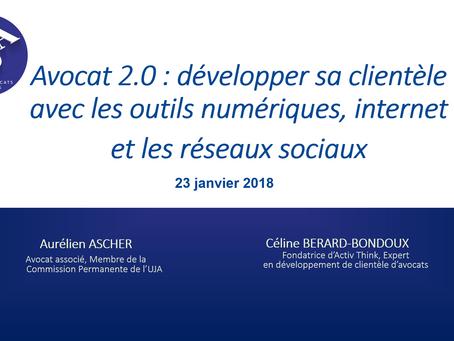 """Intervention pour l'UJA : """"Avocat 2.0 : développer sa clientèle avec les outils numériques,"""