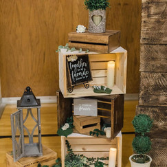 Stacked crates wedding decor