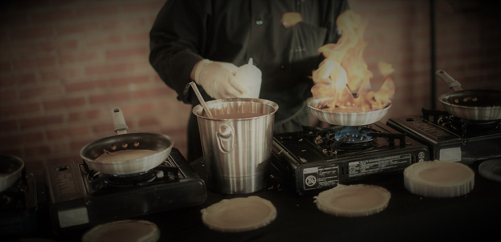 affordable flaming crepe buffet wedding catering utah