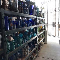 Various glass bottles for centerpieces.j