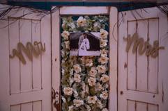 White vintage door backdrop