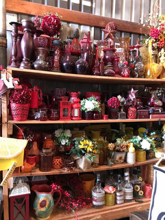 Decorative Red Bottle Centerpiece Rental