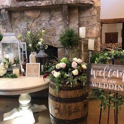 Rustic wood barrels wedding decor