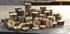 Various wood bases for centerpieces