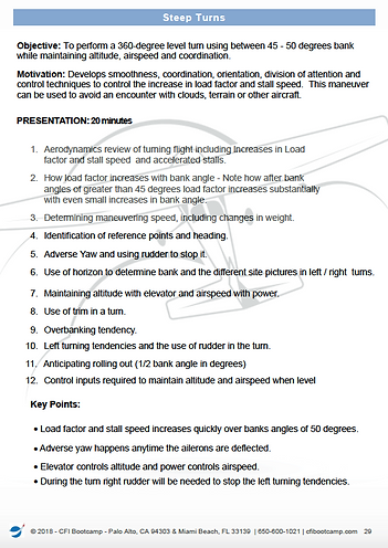 Lesson plan Preview Steep Turns