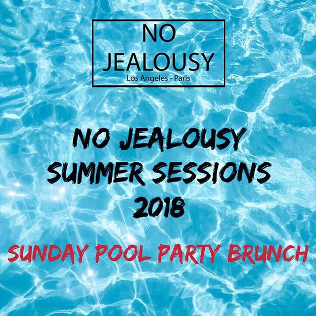 Summer time is going to be fun!_ No Jealousy Summer Sessions at _whollywoodhotel this Sunday May 27th from Noon to 6pm 💦👙_Book your day Bed_