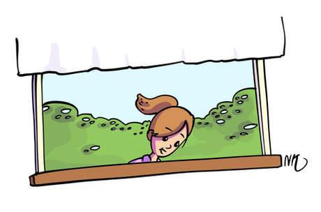 ילדה בחלון הבית