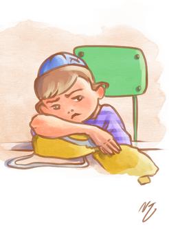 דמות ילד עצוב