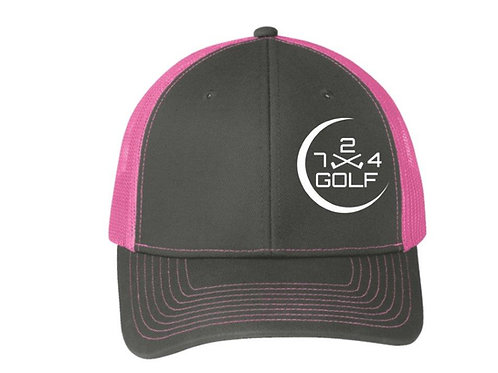 724 Golf Trucker Hat - Gray/Pink