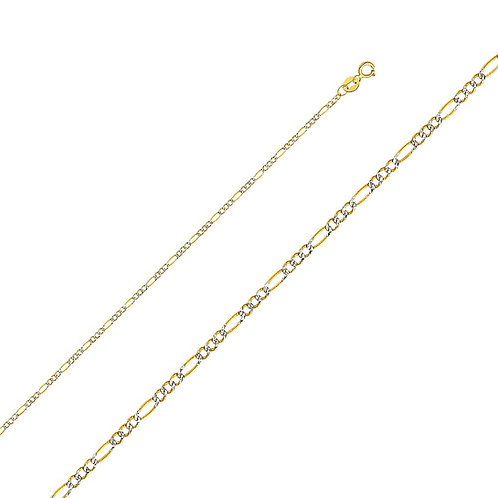 14k Two Tone Gold 1.8-mm Figaro Chain Necklace