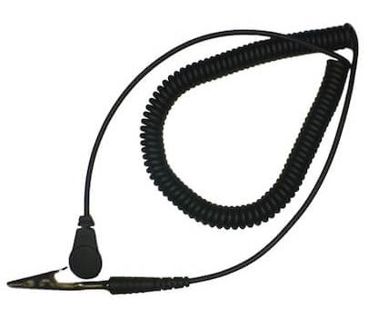 Wrist Strap Coil Cord: 10′ Non-Tribogen With Alligator Clip And 1 meg Resistor