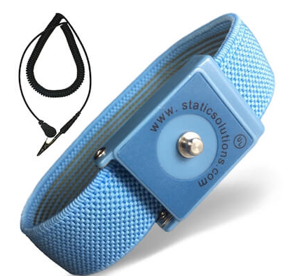 Wrist Strap: Patented Design In Blue With 4mm Snap And 10' Coil Cord