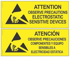 "06750 - Attention Sign, RS-471, English/Spanish, 4"" x 10"""