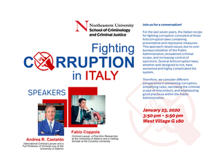 "Relatore in America all'International Workshop ""Fighting Corruption in Italy"" - Boston"