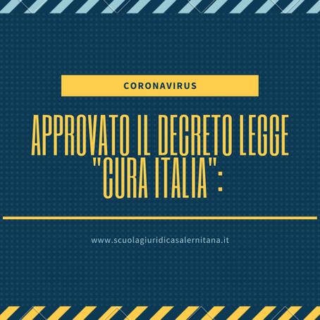 """Il CdM ha approvato lo schema del Decreto-Legge """"Cura Italia"""""""