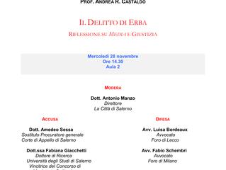 Seminario di Studi - Il Delitto di Erba: Riflessioni su Media e Giustizia (28 nov. 2018)