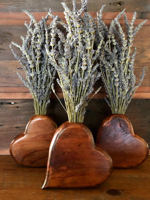 Reclaimed wood heart vase with dried lavender