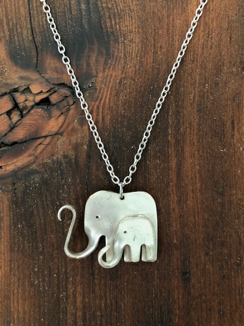 Antique silver plated fork Elephant Necklace