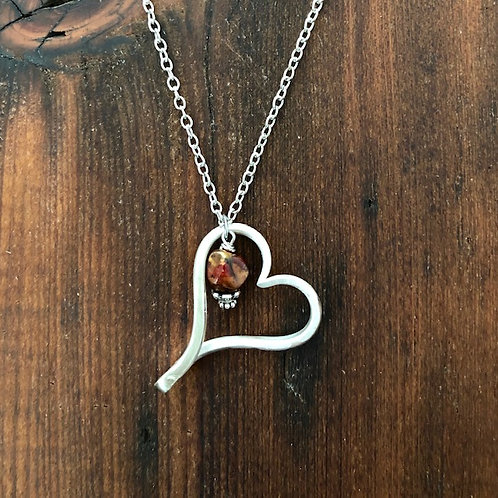 Antque silver plated fork tine Heart Necklace