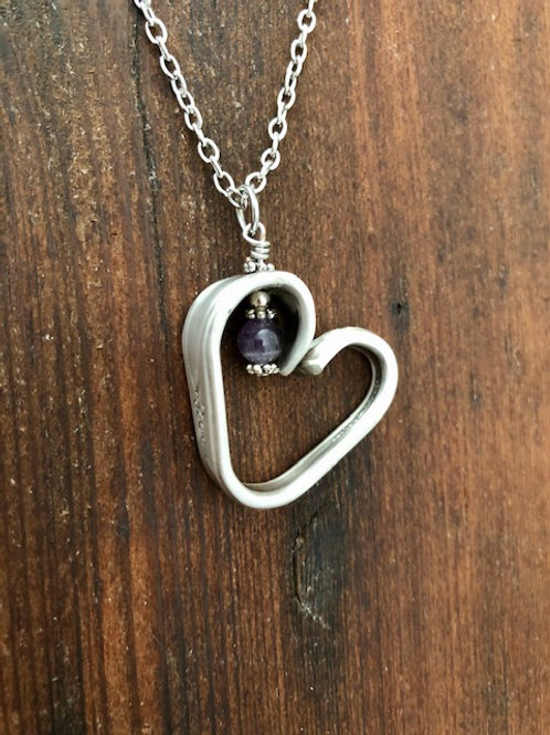 Antique silver plated spoon handle Heart Necklace