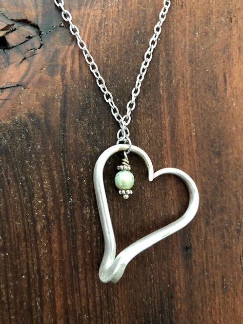 Antique silver plated fork tine Heart Necklace