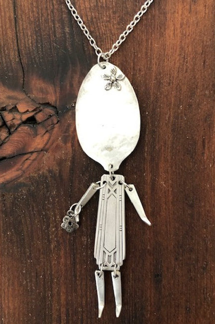 Antique silver plated spoon & fork Girl Necklace