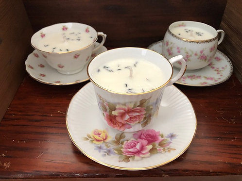 Lavender Soy Candle in Antique tea cup with saucer