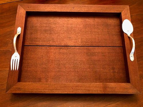 Barnwood Tray with Silver Plated Handles