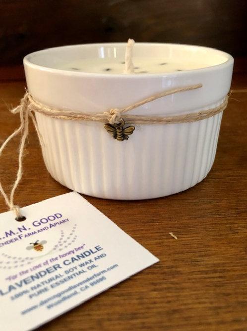 Lavender Soy Wax Candle in a ramekin