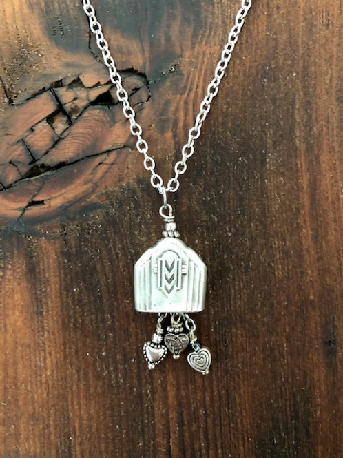 Antique silver plated knife end Bell Necklace