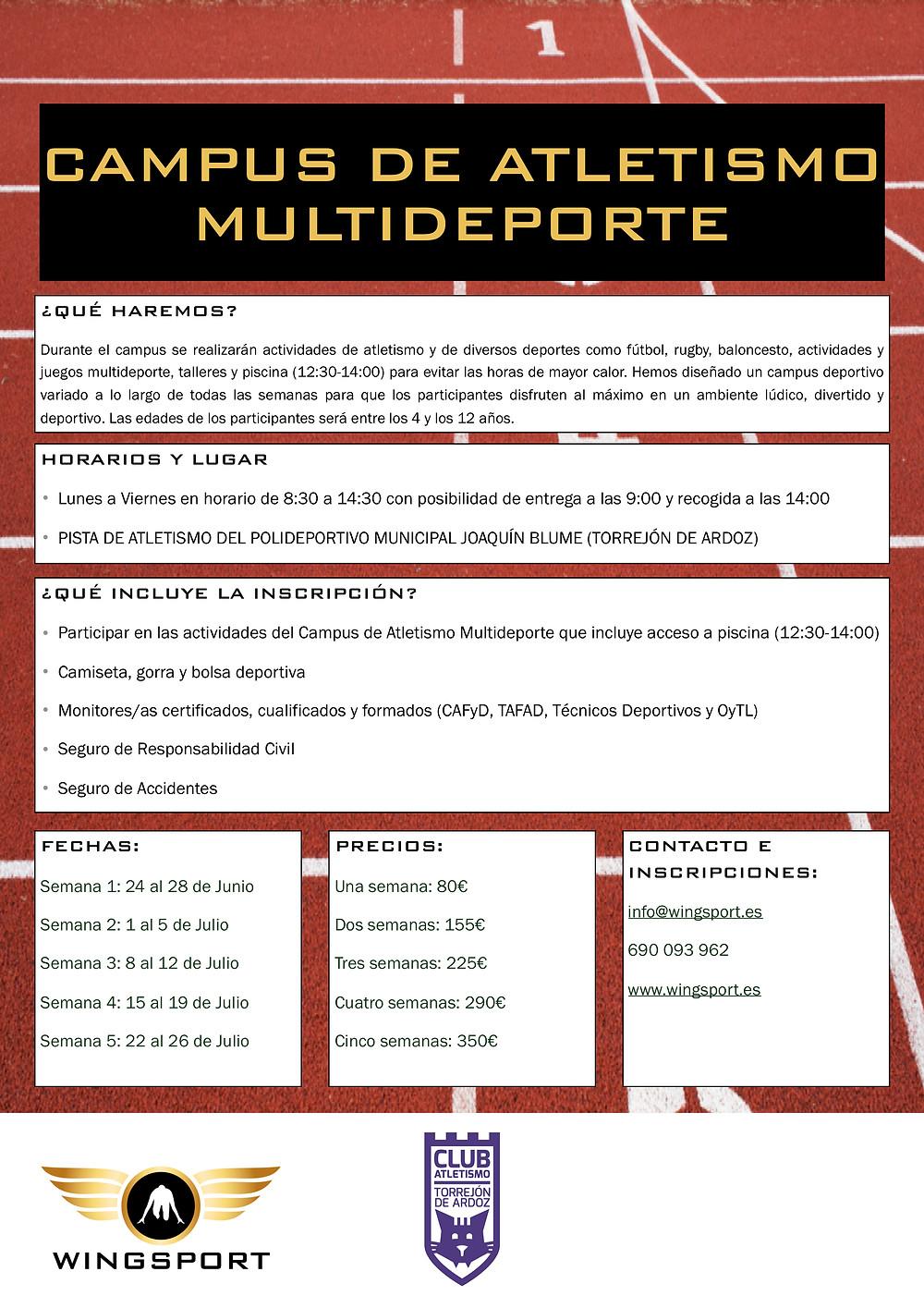 Campus de verano de atletismo multideporte en Torrejón de Ardoz