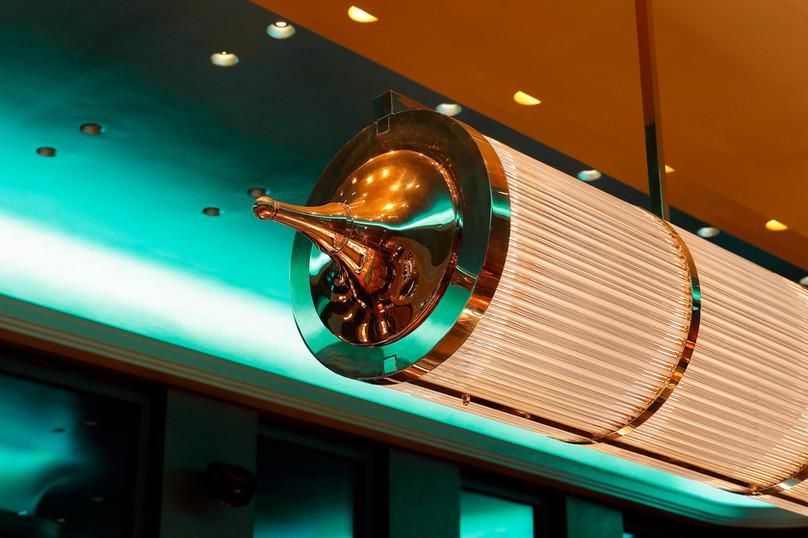 Art Deco Deckenleuchte mit Glasstäben