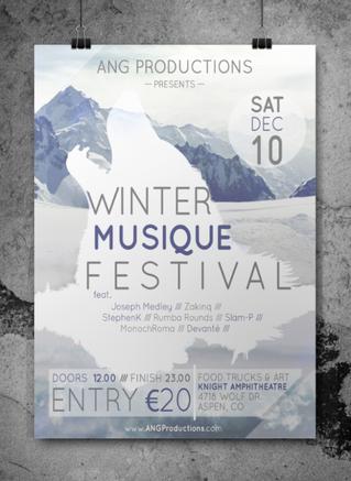 Winter Musique Festival Mockup Poster