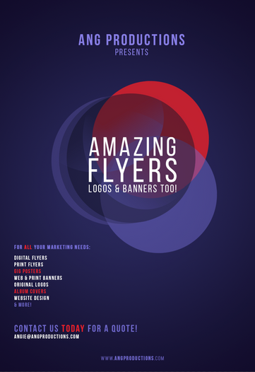 ANG Productions Amazing Flyers Graphic in Purple and Red theme