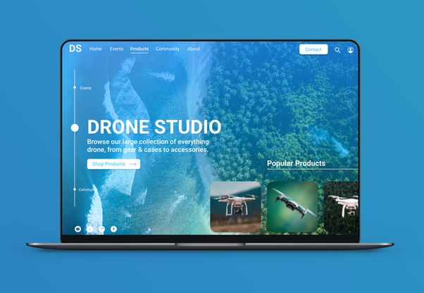 Drone Studio Website and Laptop Mockup