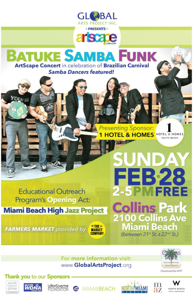 Global Arts Project Batuke Samba Funk and Artscape Concert Series at Collins Park Flyer and Poster