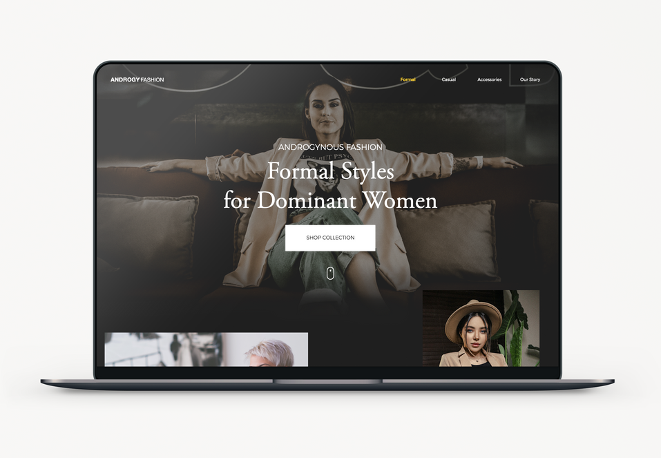 Androgynous Fashion Website and Laptop Mockup