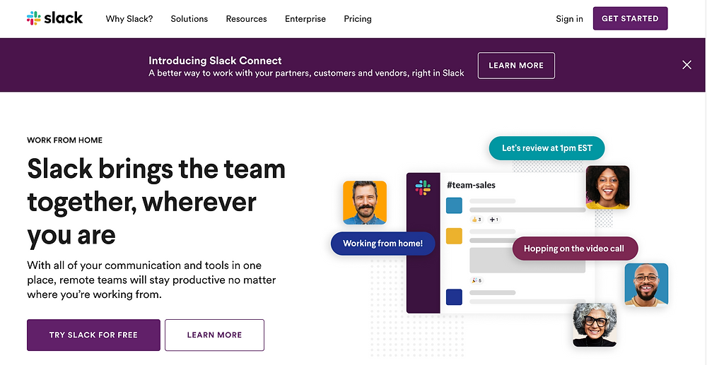 """A screenshot of the Slack Website's homepage which headlines """"Slack 