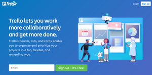 """A screenshot of Trello Management Board's website with a clear call to action for signing up. It reads """"Trello lets you work more collaboratively and get more done""""."""