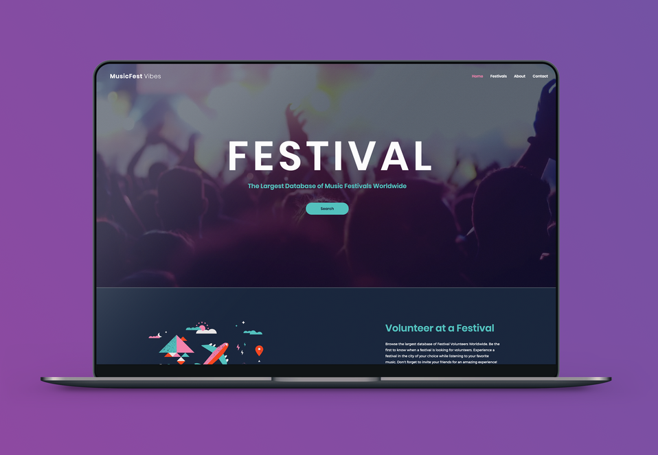 Music Fest Vibes Festival Website Laptop Mockup HomePage