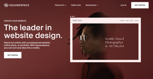 """A screenshot of the Squarespace homepage, which reads """"the leader in website design"""". Dark red color theme."""