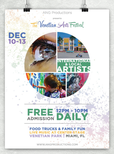 The Venetian Arts Festival Flyer Poster Mockup